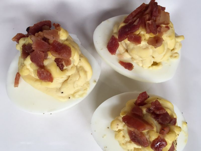 Deviled Eggs with Bacon and Blue Cheese
