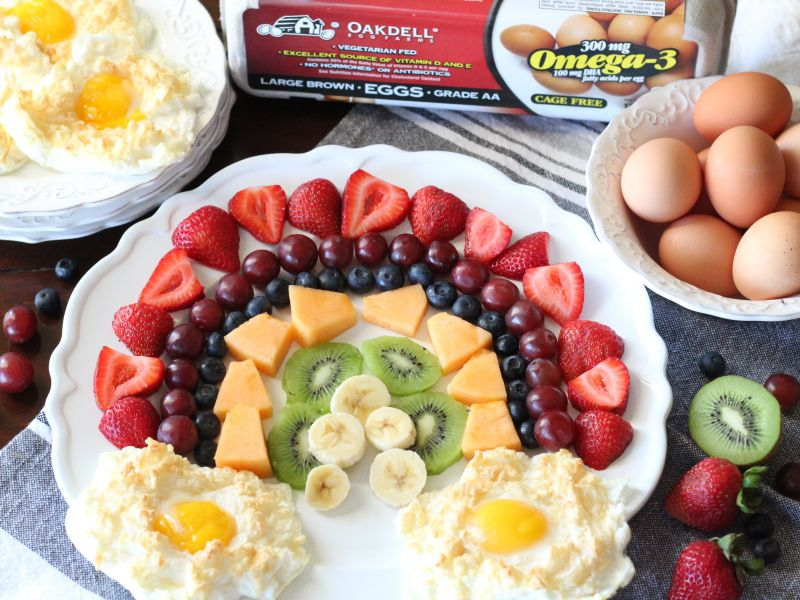 Cloud Eggs with Fruit Rainbow